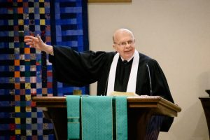 Retired Pastor Rev. Dan Graham delivers a sermon