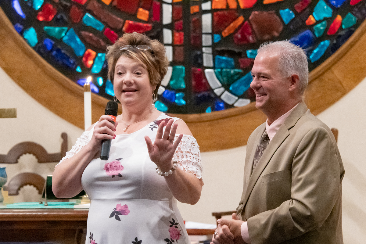 August 25, 2019:  Newly hired Director of Christian Education Anne Weatherwax introduces herself and husband John during the Worship service.