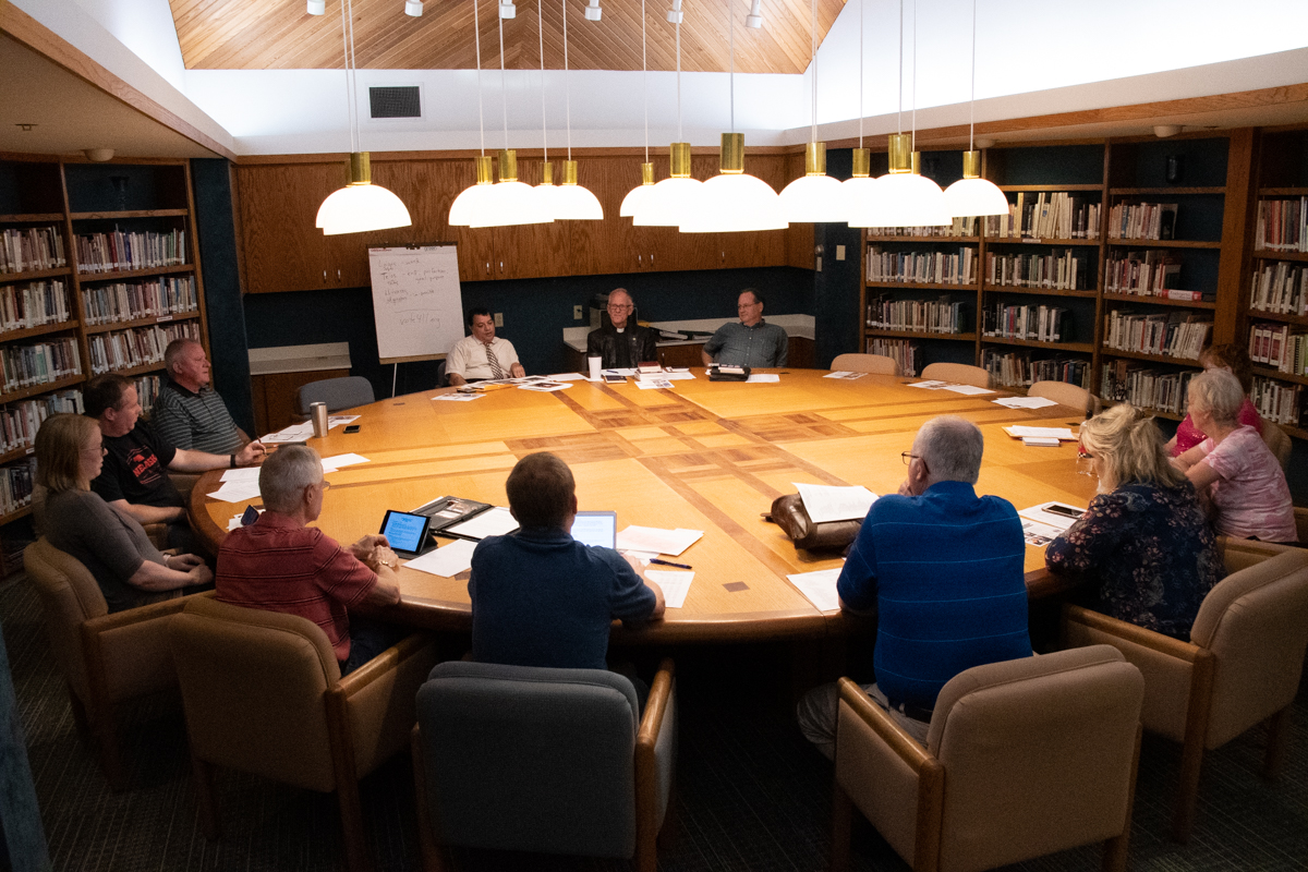 September 17, 2019:  The monthly Session meeting convenes in the church library to discuss the business and life of the church.