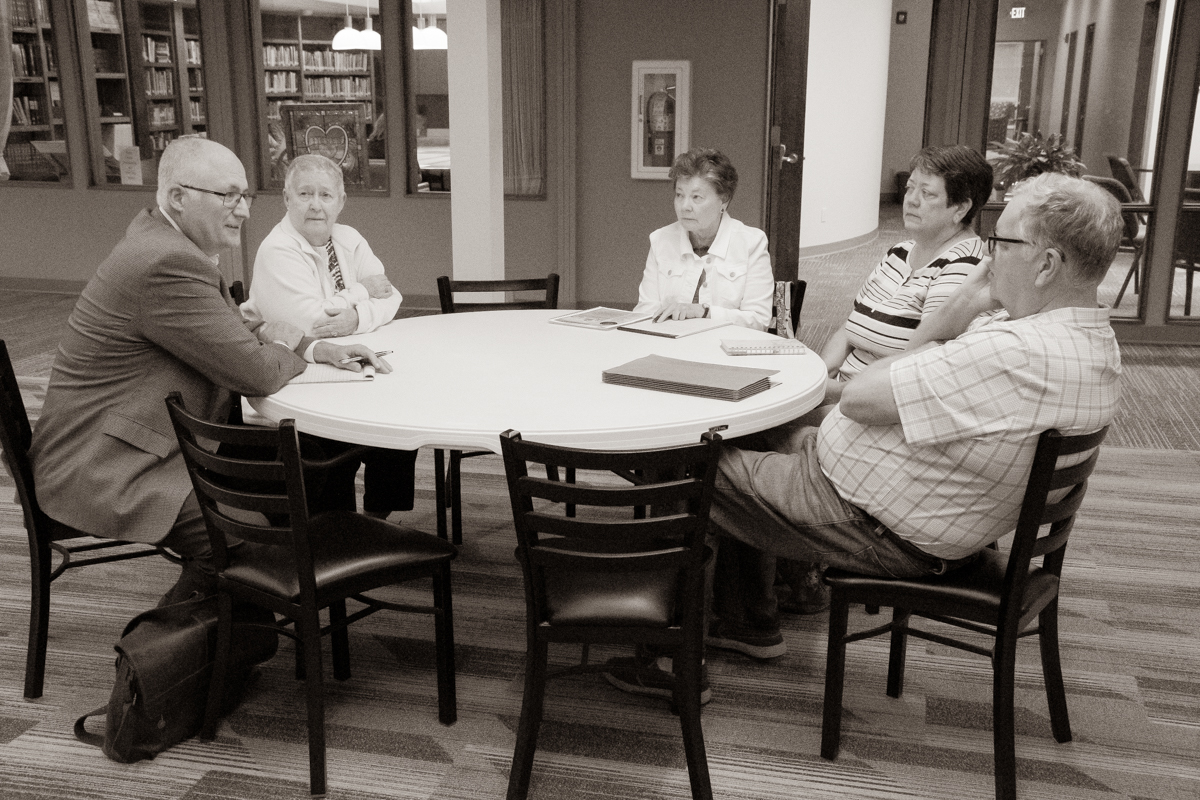 October 1, 2019:  The members of the Stewardship Committee gather to discuss the financial business of the church.