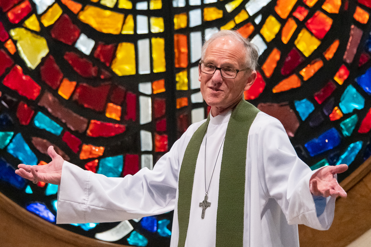 October 13, 2019: Leading Sunday service, Pastor Bob Keefer assures the congregation that their sins are forgiven through Christ.