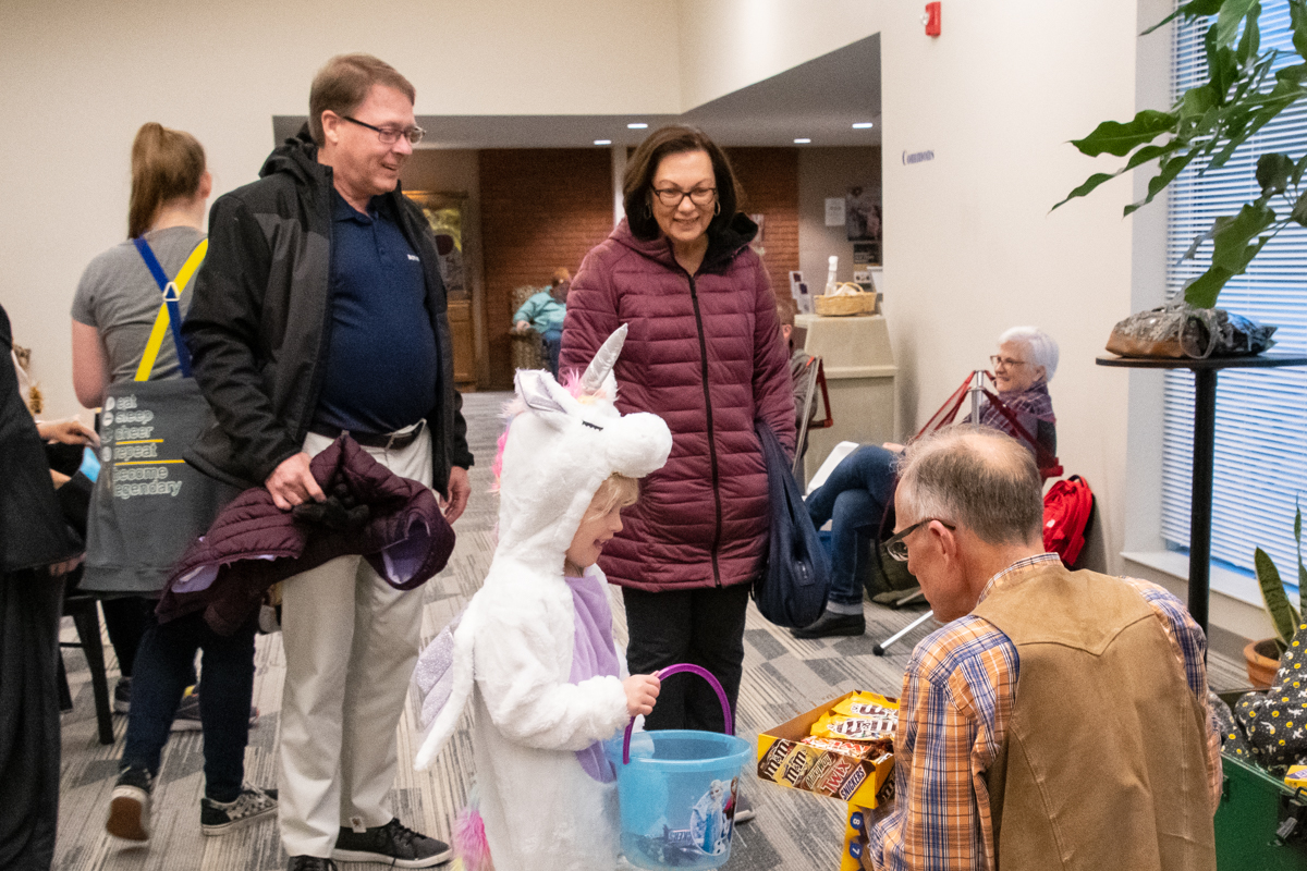 "October 30, 2019:  Weather forced the ""Trunk-or-Treat"" Halloween event inside to the Commons.  Regardless, lots of treats for the kids!"