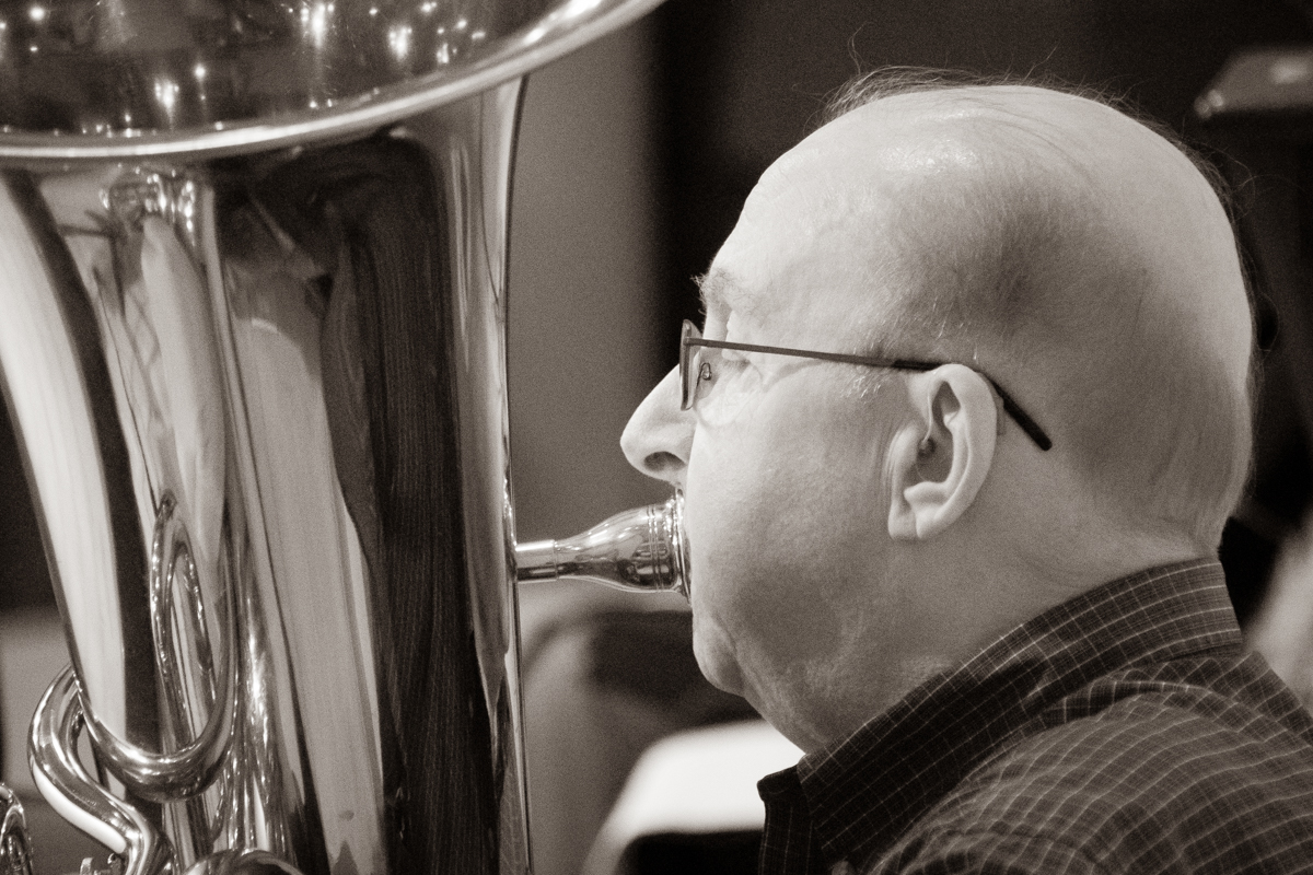 November 3, 2019:  Playing for Sunday Worship service, Bob Mehaffey plays his tuba as part of the Master Brass Ensemble.
