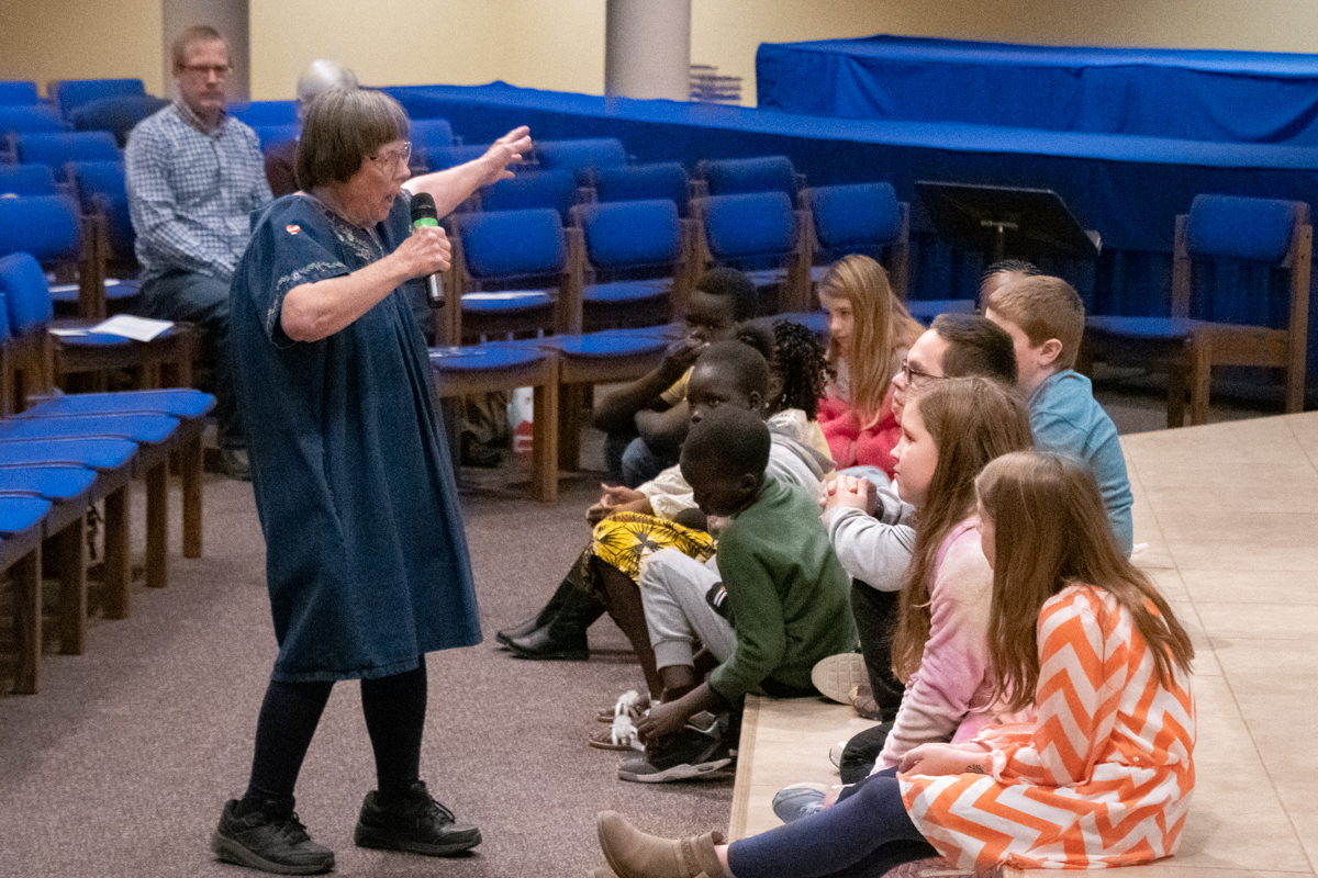 November 17, 2019:  A frequent presenter of the Children's message in Worship, Carol Sanderhoff captures the attention of the kids.