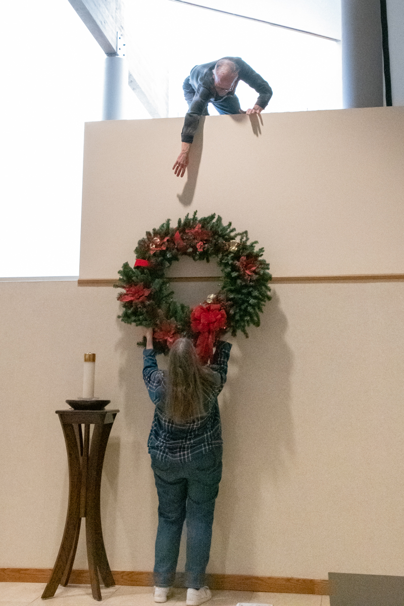 November 30, 2019:  Saturday morning, the final day of the Liturgical year, decorations start going up for the first day of Advent.