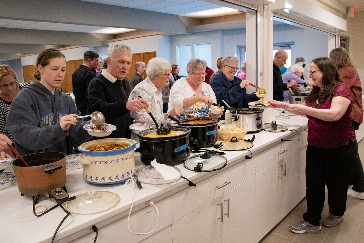 April 18, 2019:  Maundy Thursday service begins with a meal and breaking bread together. How were there church dinners before the Crock Pot?