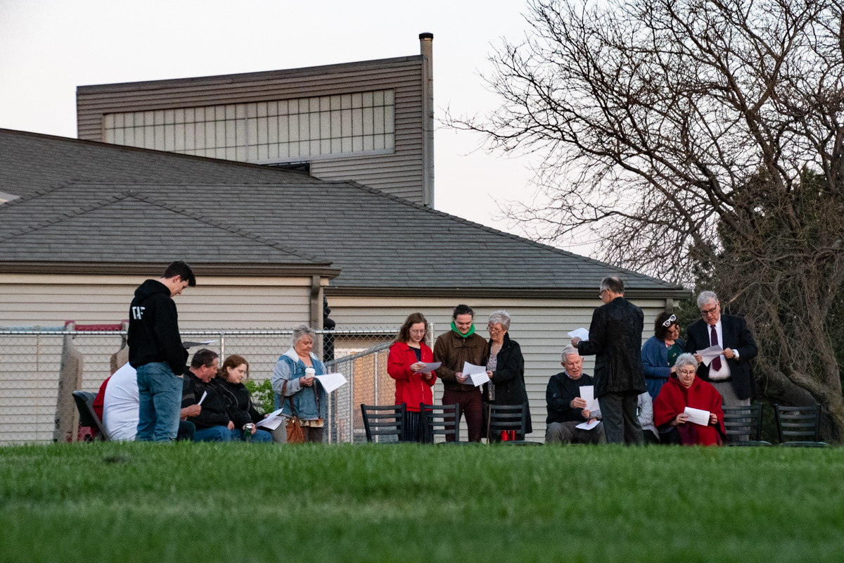 Aptil 21, 2019:  Members gather for the Easter sunrise service on the back lawn.