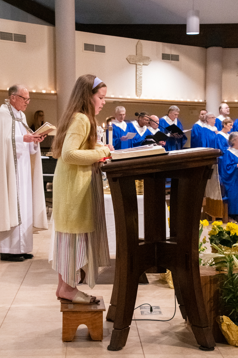 April 21, 2019:  Grace Messina serves as Lay Liturgist on Easter Sunday, showing us Worship leadership has no age requirements.