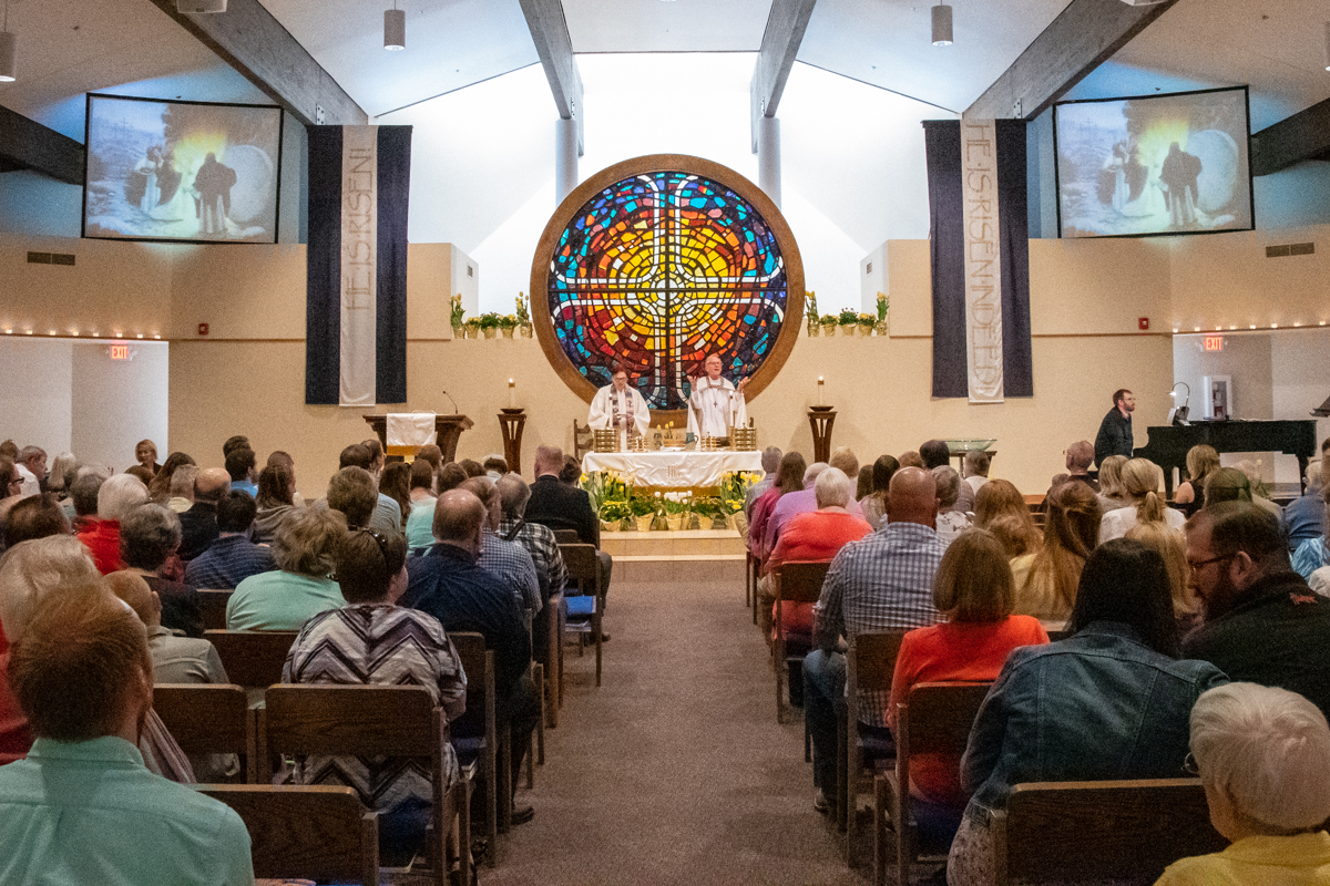April 21, 2019:  Christ Has Risen!  The faithful fill the Sanctuary for the late morning Easter Worship service.