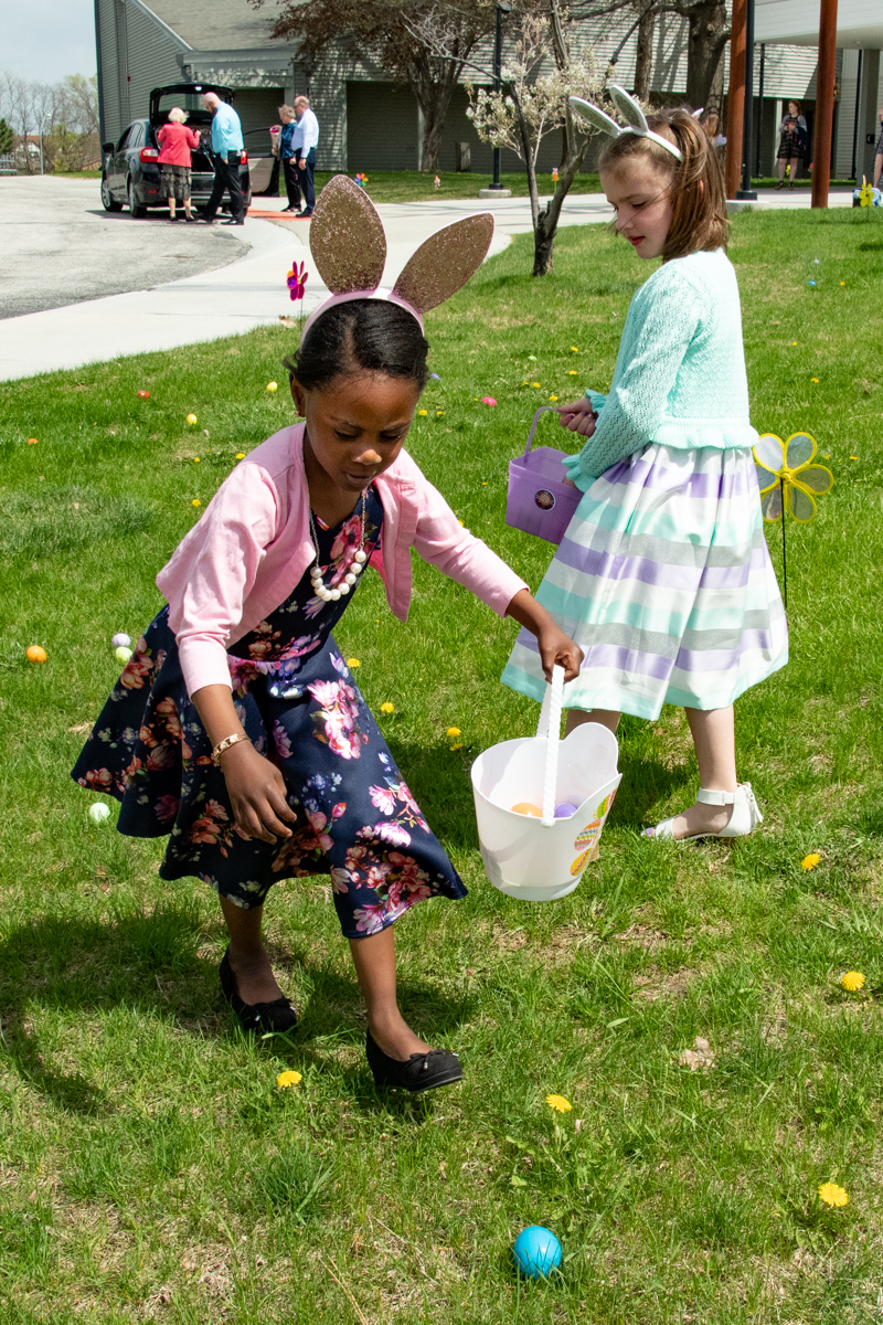 April 21, 2019:  A mad dash follows the Worship service as the children of the church enjoy the annual Easter egg hunt on the front lawn.