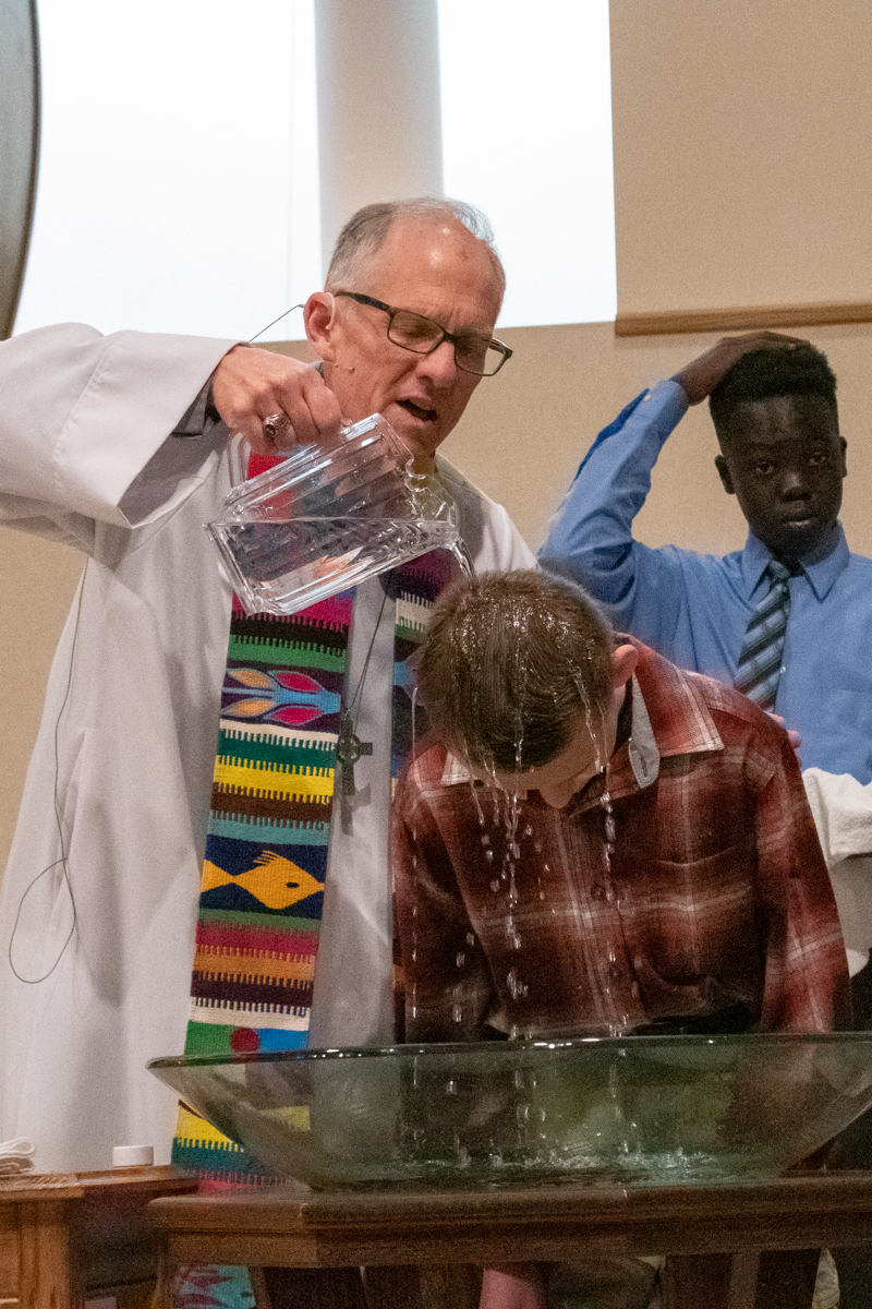 May 12, 2019:  As part of his Confirmation and joining the church, Kaleb Rude is baptized.