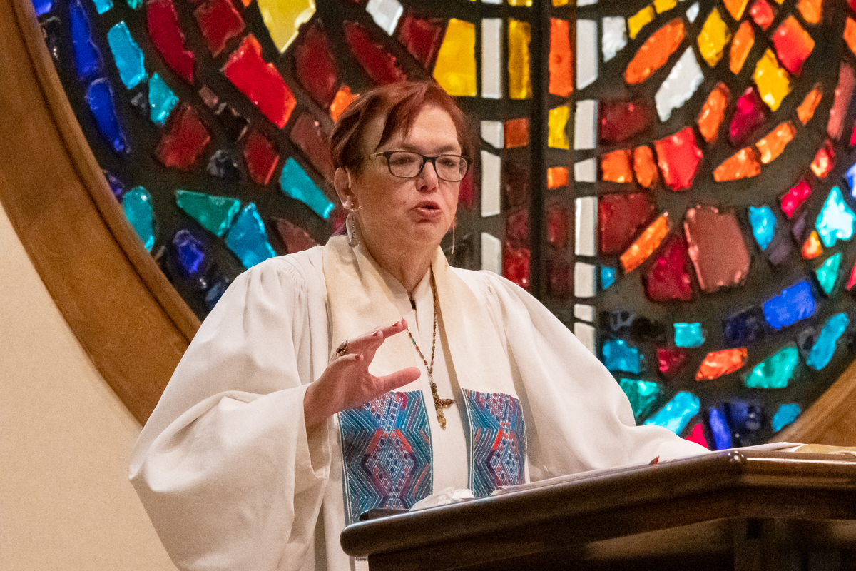 May 26, 2019:  Pastor and Parish Associate Cindy Harvey preaches her sermon during a Sunday Worship service.