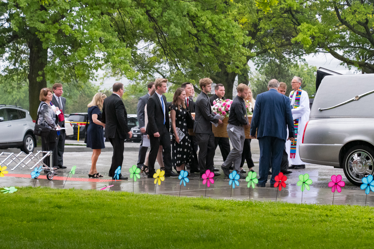 June 3, 2019:  The heavens were weeping as the family of Ruth Cook carries her casket when she departs Church of the Master for the final time.