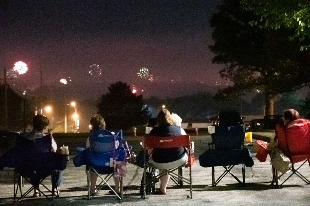July 4, 2019:  Located on top of a hill, members find the church a great place to gather to watch 4th of July fireworks over the city skyline.