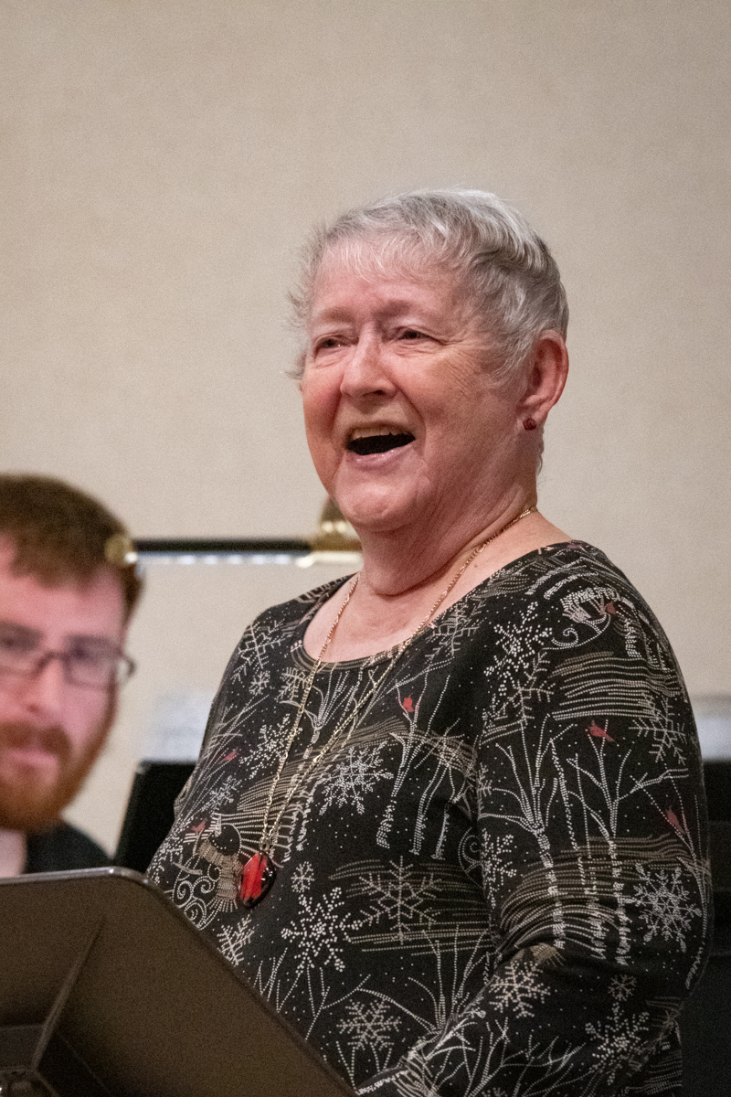 "July 14, 2019:  For many, long-time member and vocalist Barb Dasenbrock's singing of the ""The Lord's Prayer"" has become iconic."