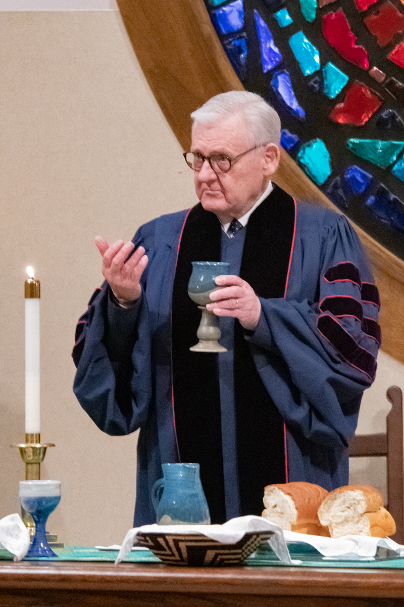 August 11, 2019:  A former Pastor at Church of the Master, the Reverend J. Keith Cook regularly attends and on occasion assists with services.