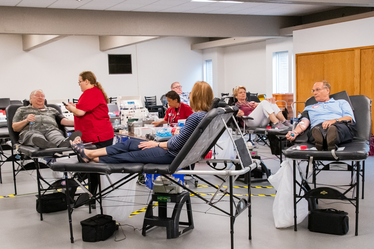 August 11, 2019:  Twice a year the Fellowship Hall becomes a collection site for the American Red Cross with members donating the gift of life.