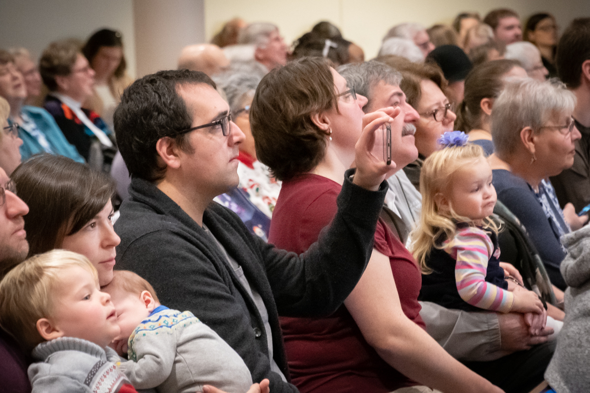 December 16, 2018:  The annual children's Christmas program always draws a full congregation of parents and grandparents supporting the kids.