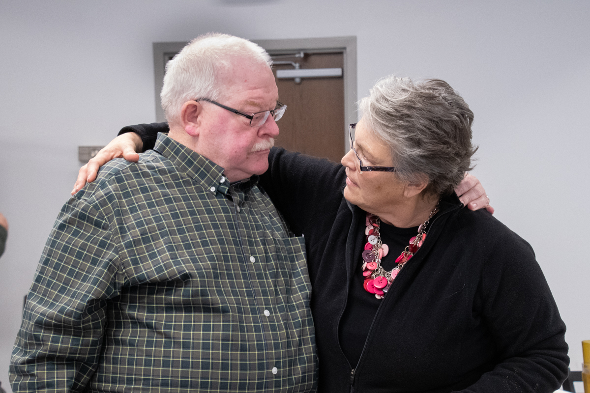 December 23, 2018:  Pastor Sara Tonje and Guy Shelton share a moment during her farewell  luncheon to celebrate her ministry at the church.