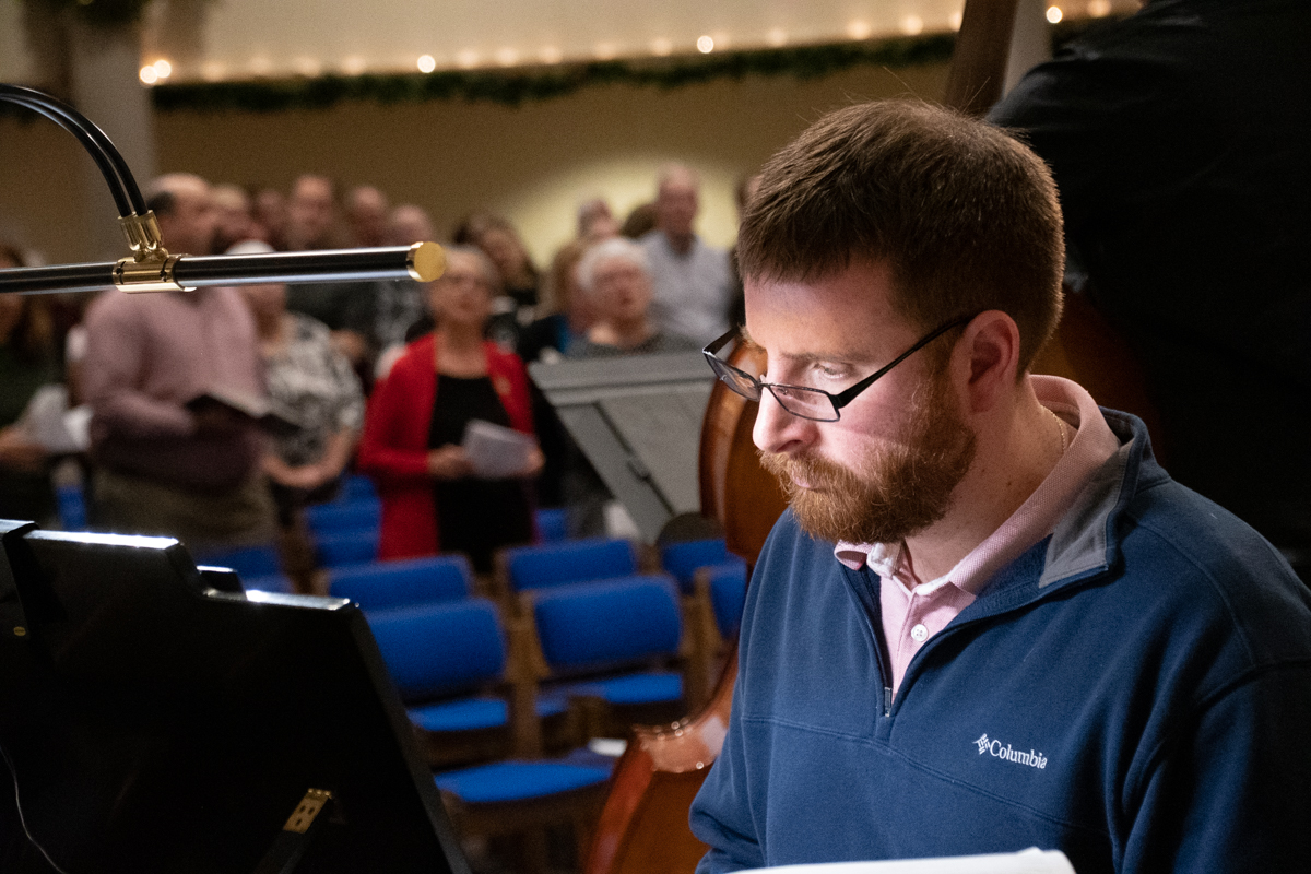 December 24, 2018:  Director of Music Chris Krampe leads the music for Christmas Eve Jazz service from the piano.