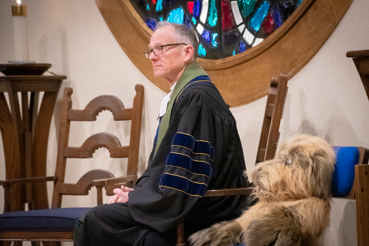 February 3, 2019:  Murphy the Dog assisted Pastor Bob Keefer with his children's message. Murphy is a member of the ACE Puppet Troupe.