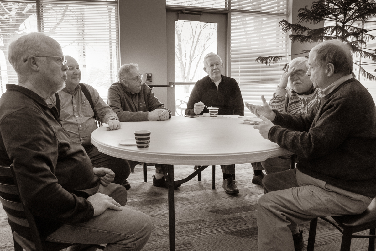 February 17, 2019:  Nothing beats sitting around the table sharing the news of the day and catching up with good church friends.