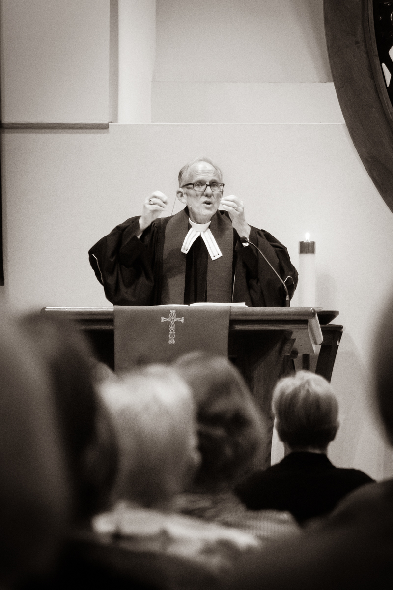 March 6, 2019:  A view from the back row as Pastor Bob Keefer delivers his message from the pulpit.