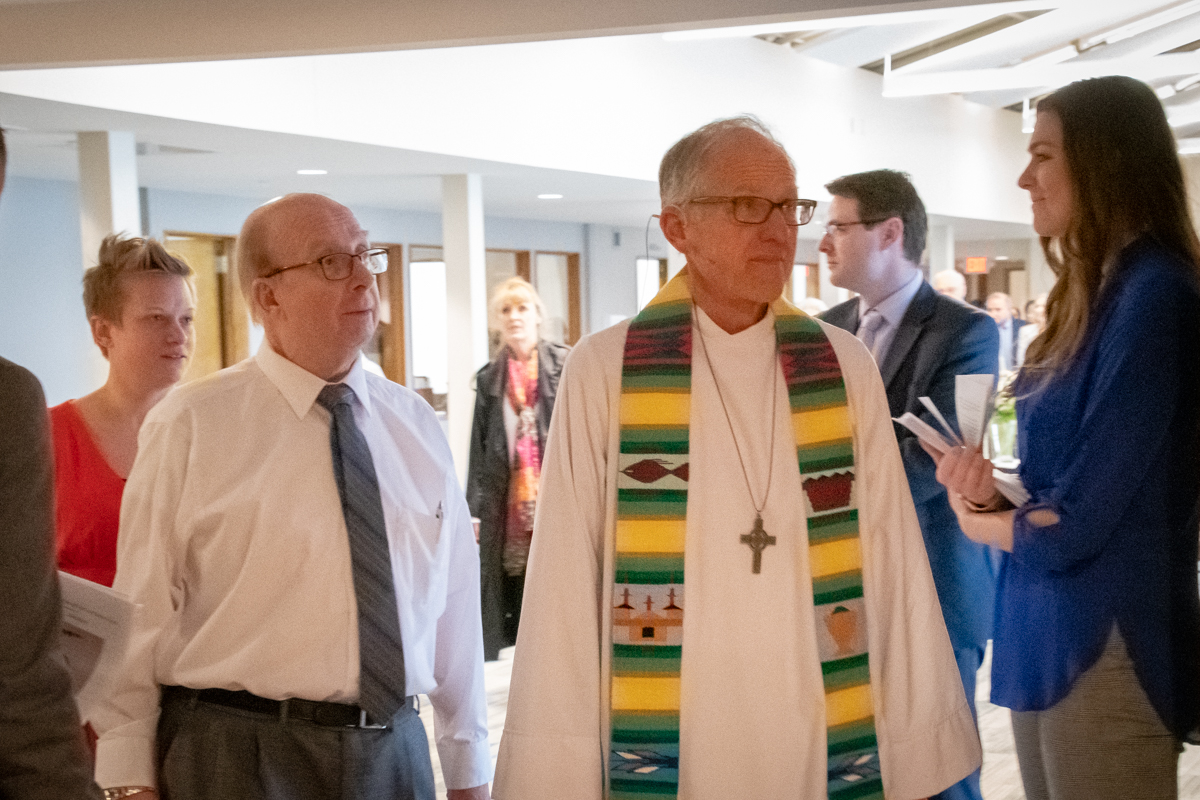 March 13, 2019:  Pastor Bob Keefer, Bob Mehaffey, and Sarah (Mehaffey) Smith ready to enter to begin the funeral service for Sue Mehaffey.