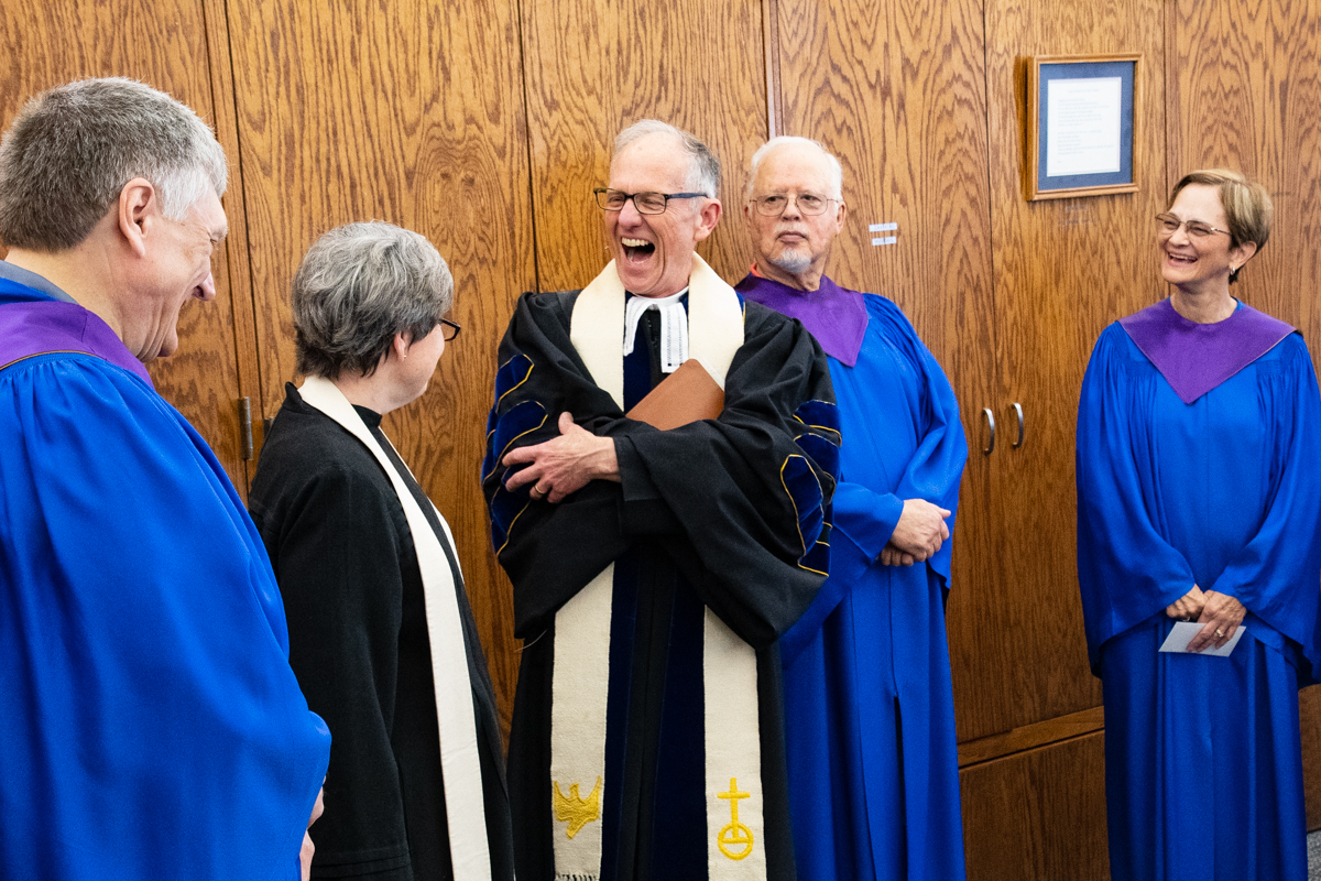 April 7, 2019:  Before services the Pastors and choir typically gather for a prayer.  However, sometimes levity ensues first.